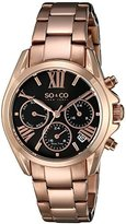 SO&CO New York Women's 5064.3 Madison Quartz Day and Date World Time Rose-Tone Stainless Steel Link Bracelet Watch
