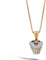 John Hardy Women's Legends Macan Pendant Necklace in 18K Gold with Pave White Diamond (0.2ct)