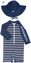 RuffleButts Boy's Stripe One-Piece Rash Guard w/ Sun Hat, Size 0-24 Months