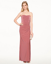 Le Château Knit Sweetheart Ruched Gown