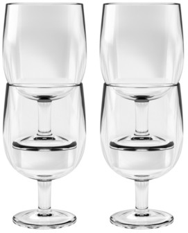 TarHong Simple Stacking Wine Goblet, Clear, 8.6 oz, Premium Plastic, Set of 6