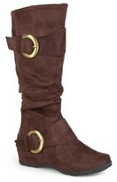 Women's Journee Collection Wide Calf Slouch Buckle Knee-High Microsuede Boots