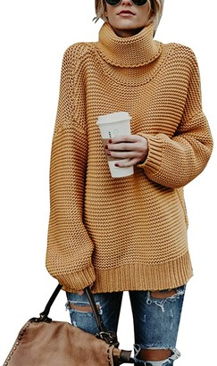 Women Turtleneck Sweater - Long Sleeve Casual Baggy Chunky Knit Pullover Sweater Tops