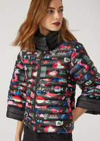 Emporio Armani down jacket in printed technical fabric