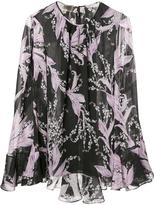 Giambattista Valli pleated trim printed blouse