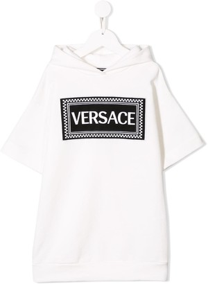 Versace Logo Patch Hooded Dress