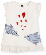 Armani Junior Kissing Fish Stretch Jersey Tee, White, Size 4-8