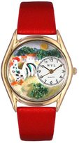Whimsical Watches Kids' C0110004 Classic Gold Rooster Red Leather And Goldtone Watch