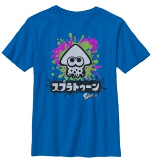 Fifth Sun Nintendo Big Boy's Splatoon Inkling Text Splatter Short Sleeve T-Shirt