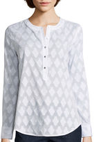 Liz Claiborne Long-Sleeve Pattern Henley Blouse