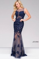 Jovani Long Lace Embroidered Prom Dress 40999