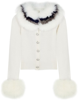 Izaak Azanei White Fur-trimmed Wool And Cashmere-blend Cardigan