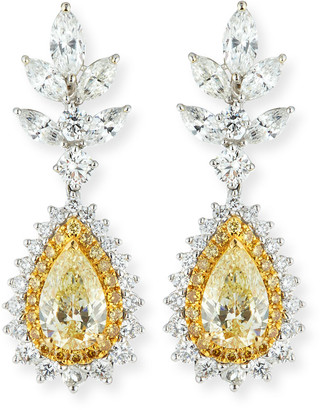 Alexander Laut 18k White Gold Fancy Yellow & White Diamond Earrings