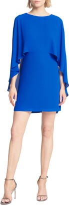 Halston Cape Sleeve Cocktail Dress
