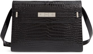 Saint Laurent Manhattan Croc Embossed Calfskin Satchel