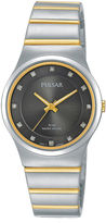 Pulsar Womens Crystal-Accent Two-Tone Bracelet Watch