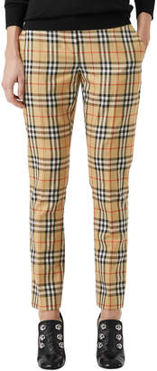 Burberry Hanover Plaid Wool Cigarette Pants