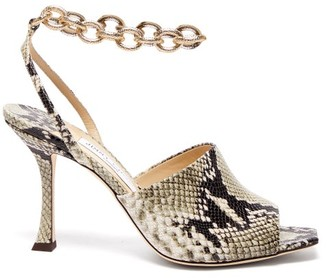 Jimmy Choo Sae 90 Chain-strap Python-effect Leather Sandals - Python