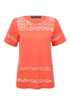 Select Fashion Fashion Womens Orange Daisy Crochet Insert Tee - size 10