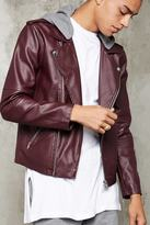Forever 21 FOREVER 21+ Hooded Faux Leather Moto Jacket