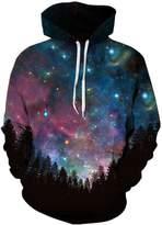 Cfanny Unisex Simulation Printing Galaxy Pocket Hooded Sweatshirt