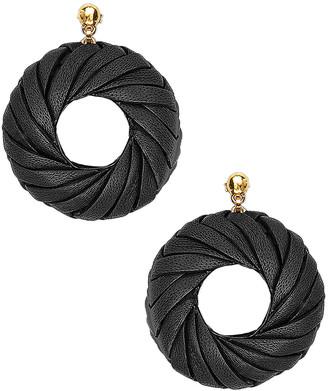 Bottega Veneta Leather Circle Earrings in Black | FWRD