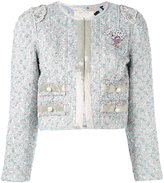Marc Jacobs bouclé jacket - women - Silk/Cotton/Lamb Skin/Brass - 4