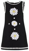 Dolce & Gabbana Black Crepe Daisy Applique Dress