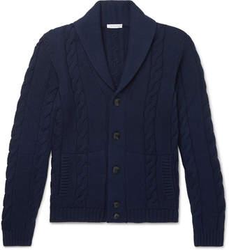 Boglioli Shawl-Collar Cable-Knit Virgin Wool Cardigan
