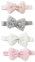 Starting Out Baby Girls Rose Crystal Pearl Bow Headband 4-Pack