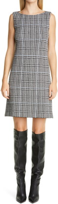 St. John Prince of Wales Plaid Knit Shift Dress