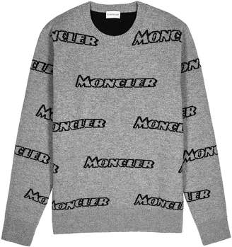 Moncler Grey Logo-intarsia Wool-blend Jumper