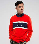 Puma Terry Half Zip Sweat In Red Exclusive To Asos