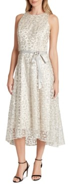 Tahari ASL Allover-Embroidered Midi Dress