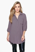 Boohoo Plus Eva Oversized Shirt grey