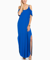 Sweet Pea Cobalt Colder Shoulder Cutout Maxi Dress