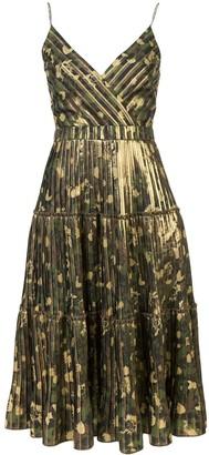 Nicole Miller camouflage pleated midi dress