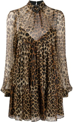 Philipp Plein Sheer Leopard Print Dress