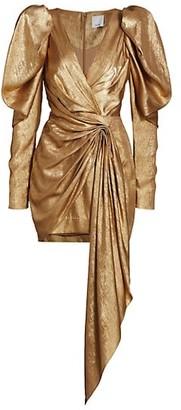 Acler Llewyn Metallic Puff-Sleeve Mini Dress