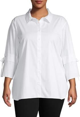 Calvin Klein Collection Plus Bell-Sleeve Dress Shirt