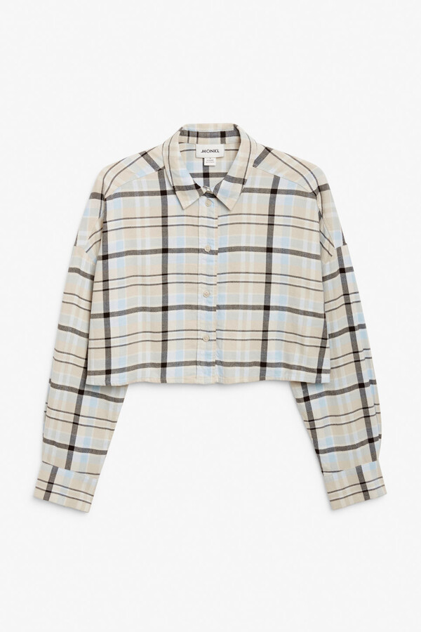 Thumbnail for your product : Monki Cropped flannel shirt