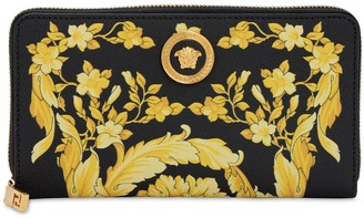 Versace BAROCCO PRINT LEATHER ZIP AROUND WALLET