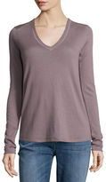 ATM Anthony Thomas Melillo V-NECK RAW EDGE SWEATER