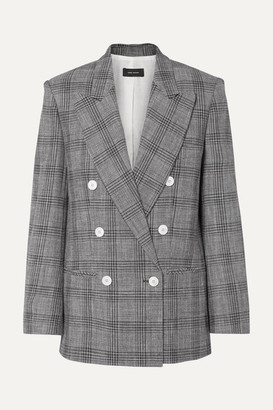 Isabel Marant Deagan Double-breasted Checked Cotton-blend Blazer - Dark gray