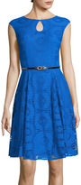 London Times London Style Collection Sleeveless Lace Fit-and-Flare Dress