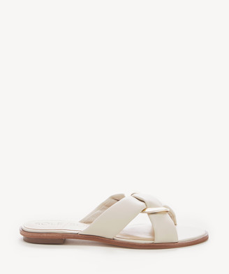 Sole Society Women's Sainne Criss Cross Flat Sandals Cream Size 5 Leather From