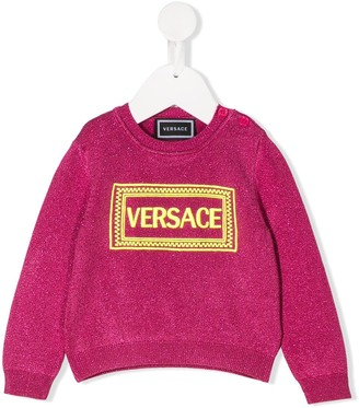 Versace logo embroidered jumper