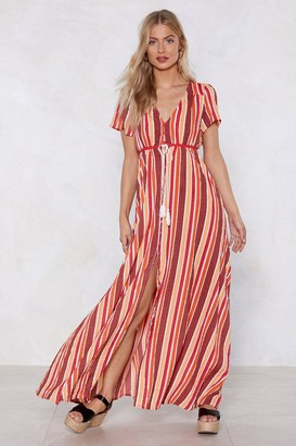 Nasty Gal Womens A Stripe Girl Through and Through Maxi Dress - Orange - 6, Orange