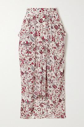 Isabel Marant - Ginkinali Draped Floral-print Silk Crepe De Chine Midi Skirt - Ecru
