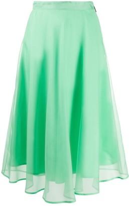 MSGM Sheer Overlay Midi Skirt